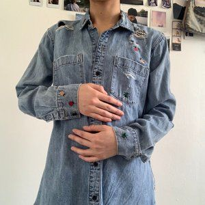 Lucky Brand Distressed Denim Shirt with Patches